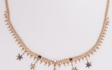 14 kt. Pink gold - Necklace, Antique Bismarck chain with stars -Diamond - Pearls, Rubys, Sapphires, TDW 0.70ct.!
