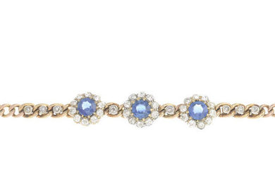An early 20th century 9ct gold sapphire and diamond cluster bracelet.