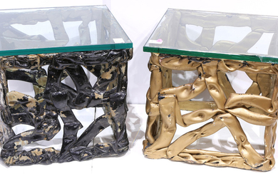 (lot of 2) Hollywood Regency style side tables, each having a plate glass top, above a gilt decorated base