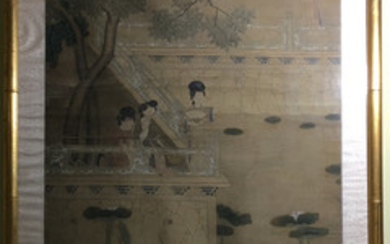 OLD Large Chinese watercolor painting with figurines. 19th century