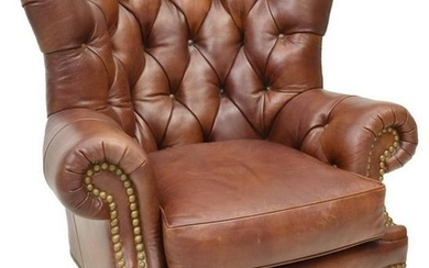 WHITTEMORE-SHERRILL TUFTED LEATHER ARMCHAIR