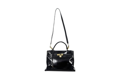 Black Vintage Hermes Kelly Retourne 28 Bag