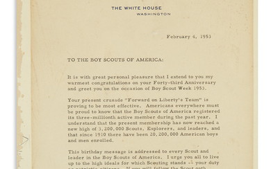GREETING THE BOY SCOUTS OF AMERICA ON...