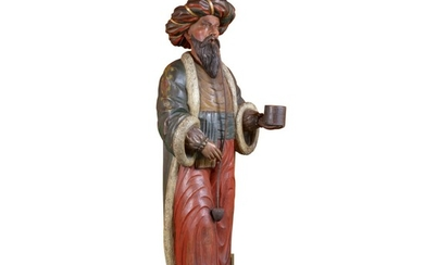IMPORTANT CARVED AND POLYCHROME PAINT-DECORATED WOOD TOBACCONIST TRADE FIGURE OF A TURK, ATTRIBUTED TO SAMUEL ANDERSON ROBB (1851-1928),, NEW YORK, CIRCA 1880