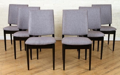 SET 6 EBONIZED UPHOLSTERED ARM CHAIRS C.1960