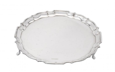 A silver shaped circular salver by Duncan & Scobbie