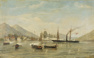 William Adolphus Knell (c.1808-1874), HMS 'Nemesis' and boats attacking a masked Battery, February 23rd 1841 (First Opium War)