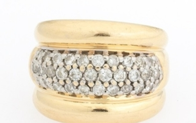 Ladies' Gold and Pave Diamond Ring