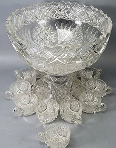 American Brilliant Cut Gl Punch Bowl