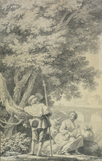DUTCH SCHOOL, 18TH CENTURY A Rustic Scene with a Woman Nursing a Child and a Soldier with a Pike near a Riverbank.