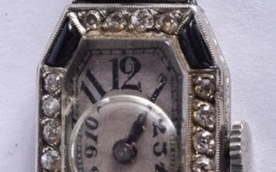AN ART DECO SILVER AND ENAMEL COCKTAIL WATCH. 1.5 cm x
