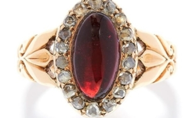 ANTIQUE GARNET AND DIAMOND RING in 18ct yellow gold,
