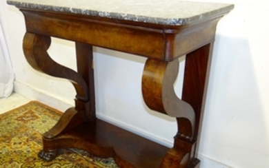 FRENCH REGENCY FIGURED MAHOGANY M/TOP CONSOLE