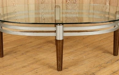 OBLONG GLASS WOOD AND METAL COFFEE TABLE