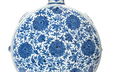 A rare and large blue and white 'peony' moonflask, bianhu