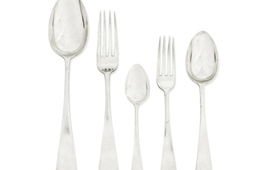 A Victorian provincial Old English pattern silver flatware service