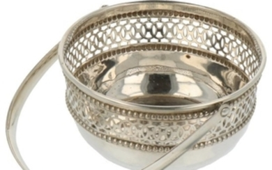 Bonbon handle basket with ajour openwork side and cast bead edges silver.