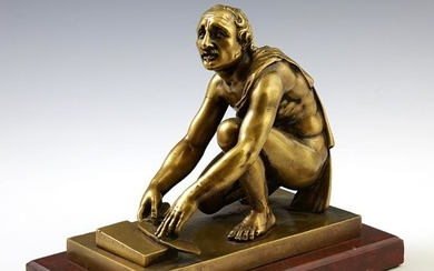 Continental Gilt Bronze Figure of a Man Sharpening a