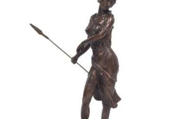 Patinated Bronze Sculpture of Amazon Queen on Marble Base