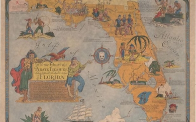 """A Pirate Treasure Map!, """"Ye True Chart of Pirate Treasure Lost or Hidden in the Land & Waters of Florida"""""""