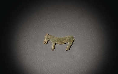 A RARE PALE GREEN JADE 'HORSE' PENDANT LATE SHANG / WESTERN ZHOU DYNASTY