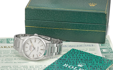 ROLEX. A RARE STAINLESS STEEL AUTOMATIC WRISTWATCH WITH BRACELET, ORIGINAL GUARANTEE AND BOX, SIGNED ROLEX, OYSTER PERPETUAL, MILGAUSS, REF. 1019, CASE NO. 1'915'106, CIRCA 1968