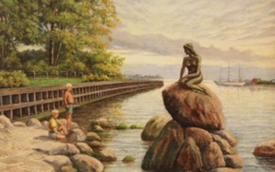 SIGNED 20TH C. O/C PAINTING OF LITTLE MERMAID