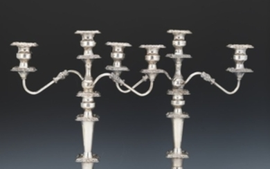 Pair of Large Baroque Style Silver Plate Three-Light Candelabra