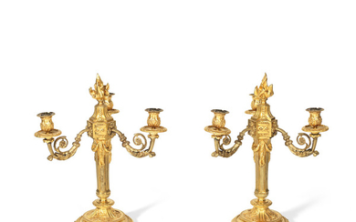 A pair of late 19th century French gilt bronze three light candelabra