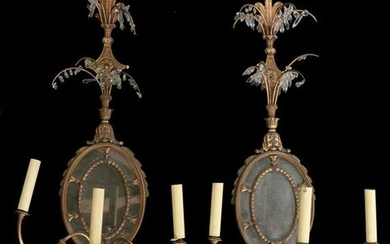Pair of mirror back wall sconces, the feather top above