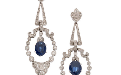 Sapphire, Diamond, White Gold Earrings The earrings feature oval-shaped...