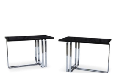 A pair of Art Moderne chromed metal and lacquered...