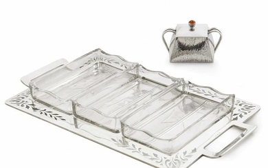 Austrian silver glass tray, Polish jam pot