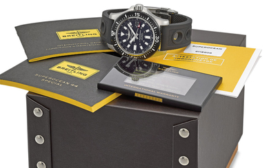 BREITLING. A STAINLESS STEEL AUTOMATIC WRISTWATCH WITH DATE, INTERNATIONAL WARRANTY AND BOX, SIGNED BREITLING, SUPEROCEAN, 1000M/3300FT, REF. Y17393, CASE NO. 6'118'609, CIRCA 2018