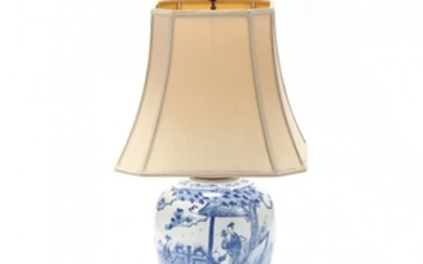 A Chinese Blue and White Large Jar Lamp