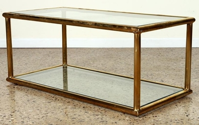 ELEGANT TWO TIER BRASS GLASS COFFEE TABLE C.1970