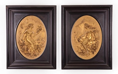 Pair of German Gilt Metal Plaques