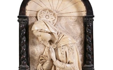 AN ITALIAN PAINTED PLASTER RELIEF PLAQUE, in 16th …