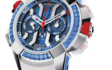JACOB & CO JACOB & CO. EPIC X CHRONO MESSI ''ONLY WATCH'' SPECIAL EDITION This unique piece enhances the limited edition Messi with baguette-cut blue sapphires. Also included is a meet and greet for two people with Lionel Messi.,