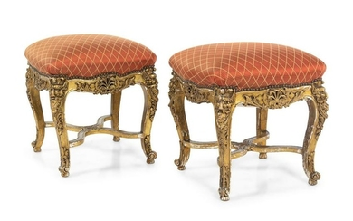 A Pair of Louis XV Style Giltwood Tabourets