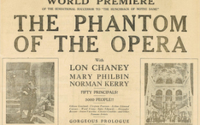 A newspaper promoting the world premiere of The Phantom of the Opera