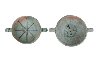 Two Bowls Two carinated bowls with ring handles. Archaic majolica...