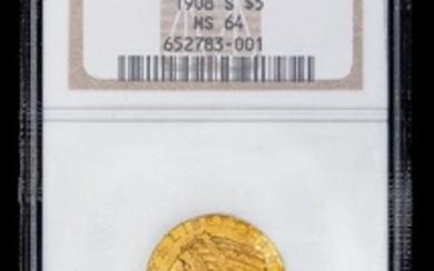 A United States 1908-S Indian Head $5 Gold Coin (NGC MS64)