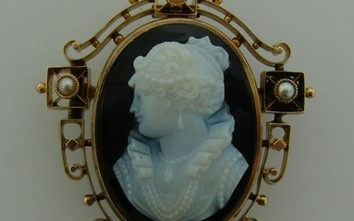Victorian c.1900s AGATE CARVED CAMEO PEARL YELL GOLD