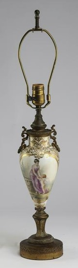 """French Rococo style hand painted porcelain lamp, 27""""h"""