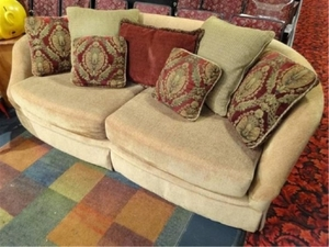 Gold Chenille Sofa With Curved Back