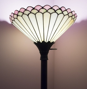 Lot Art Metal Torchiere Floor Lamp With Stained Glass Shade