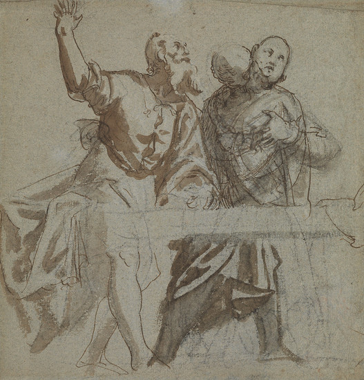 PAOLO VERONESE (CIRCLE OF) (Verona 1528 1588 Venice) A Study of Two Apostles Seated at a Table.