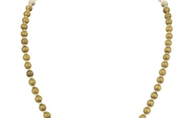 A Textured Gold Bead Necklace