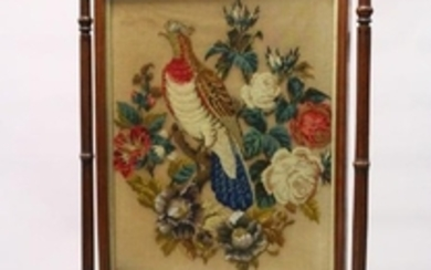 A VICTORIAN MAHOGANY FRAMED FIRESCREEN, with beadwork